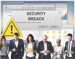 Security data Breach business identity theft Cyber Attack Computer Crime Password Concept